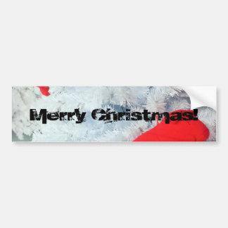 Oso de peluche rojo en árbol de navidad pegatina para auto