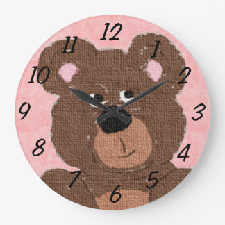 Oso de peluche (rosa) reloj redondo grande