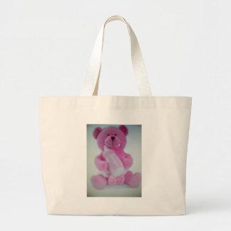 Oso de peluche rosado con la botella bolsas lienzo