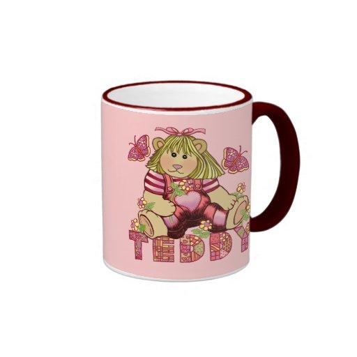 Oso de peluche rosado del ramillete taza