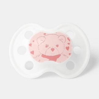 Oso de peluche rosado lindo con los corazones rosa chupetes de bebé