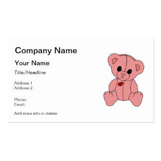 Oso de peluche rosado lindo y feliz tarjeta de visita