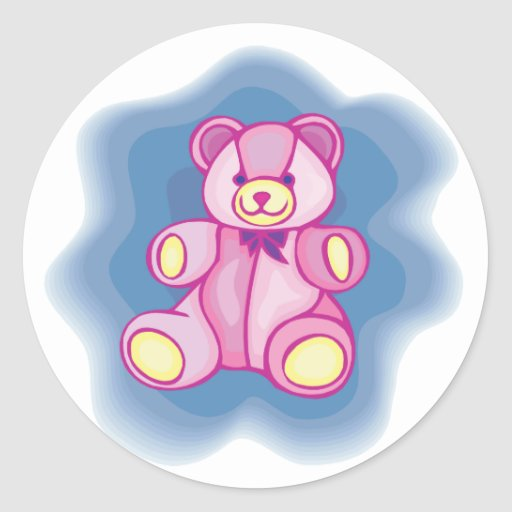 Oso de peluche rosado mimoso pegatina redonda