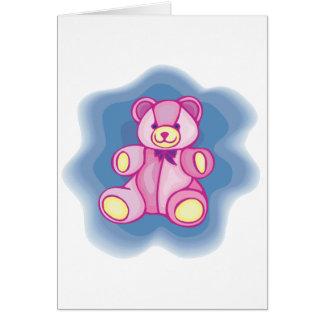 Oso de peluche rosado mimoso tarjeta de felicitación