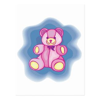 Oso de peluche rosado mimoso tarjeta postal
