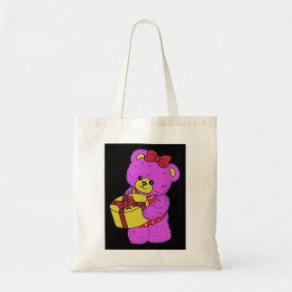 Oso de peluche rosado y amarillo oscuro para los c bolsas lienzo