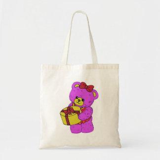 Oso de peluche rosado y amarillo oscuro para los c bolsa lienzo