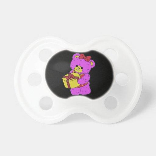 Oso de peluche rosado y amarillo oscuro para los c chupetes de bebé