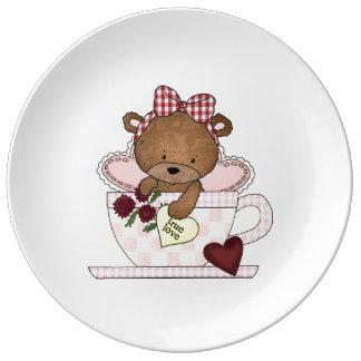 Oso de peluche verdadero del amor platos de cerámica