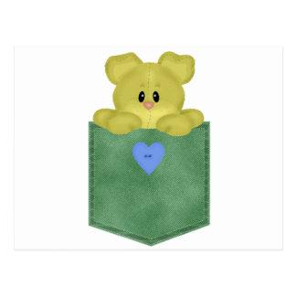 Oso de peluche verde del amarillo del bolsillo de postales