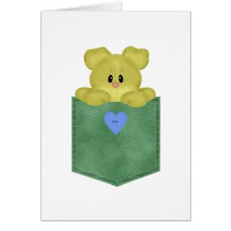 Oso de peluche verde del amarillo del bolsillo de tarjeta de felicitación