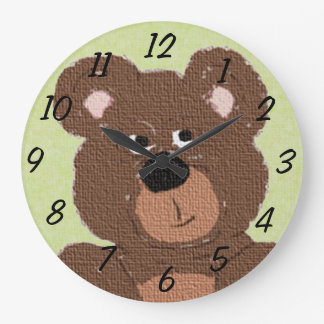 Oso de peluche (verde) reloj redondo grande
