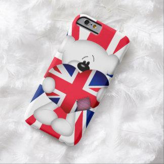 Oso de peluche y corazón grande de Union Jack Funda De iPhone 6 Barely There