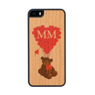 Oso de peluche y corazón personalizados del amor funda de cerezo carved® para iPhone 5
