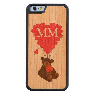 Oso de peluche y corazón personalizados del amor funda de iPhone 6 bumper cerezo