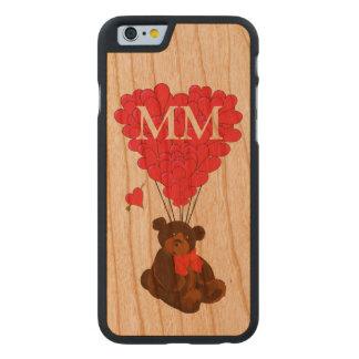 Oso de peluche y corazón personalizados del amor funda de iPhone 6 carved® slim de cerezo
