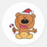 Oso de Santa con el bastón de caramelo Etiqueta