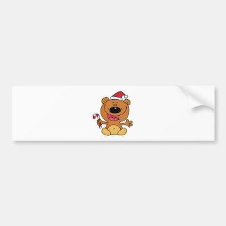 Oso de Santa con el bastón de caramelo Pegatina Para Auto
