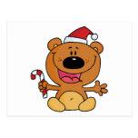 Oso de Santa con el bastón de caramelo Tarjetas Postales
