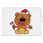 Oso de Santa con el bastón de caramelo Tarjetón