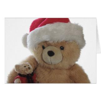 Oso de Santa con poca tarjeta de Navidad del oso