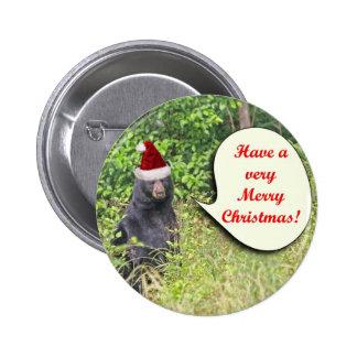 Oso de Santa deseándole Felices Navidad Pin