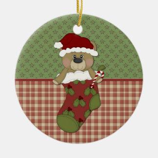 Oso de Santa en la media Ornamente De Reyes