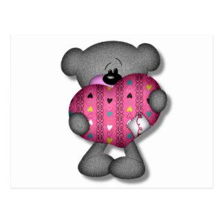oso del amor de los corazones del garabato tarjeta postal