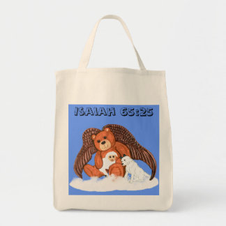 Oso del ángel con el bolso del verso de la biblia bolsa tela para la compra