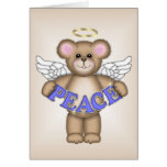Oso del ángel de la paz tarjetón