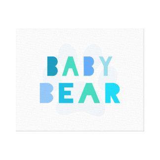 Oso del bebé - azul impresión en lienzo estirada