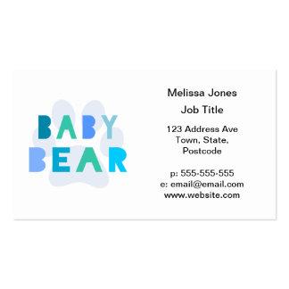 Oso del bebé - azul tarjetas de visita
