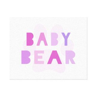 Oso del bebé - rosa impresión en lona