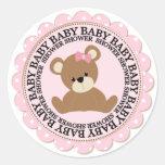 Oso del bebé y fiesta de bienvenida al bebé rosada pegatinas redondas