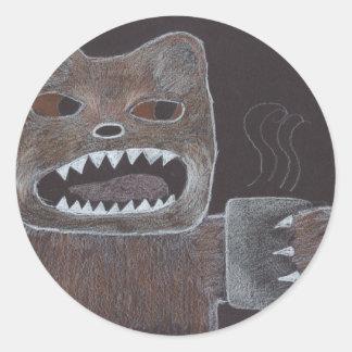Oso del café pegatina redonda