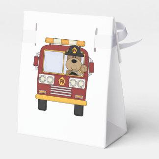 Oso del coche de bomberos caja para regalos