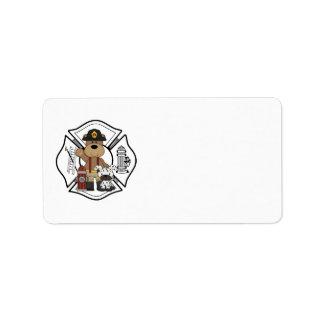 Oso del departamento del fuego del bombero etiquetas de dirección