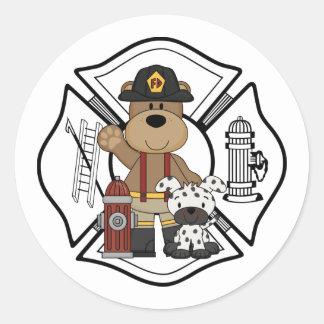 Oso del departamento del fuego del bombero pegatina redonda