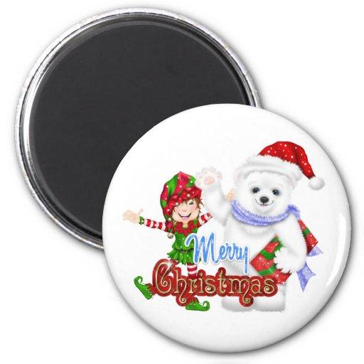 Oso del duende de las Felices Navidad Imán Redondo 5 Cm