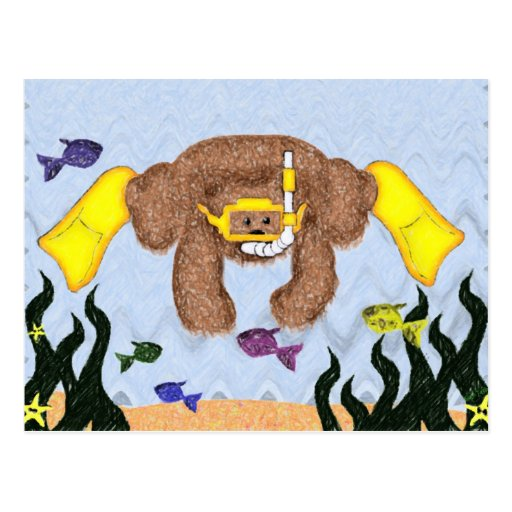 Oso del equipo de submarinismo postales