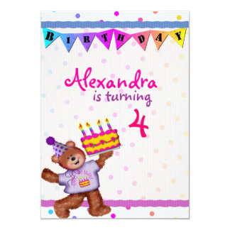 """Oso del feliz cumpleaños invitación 5"""" x 7"""""""
