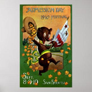 Oso del festival del día de admisión de California Posters