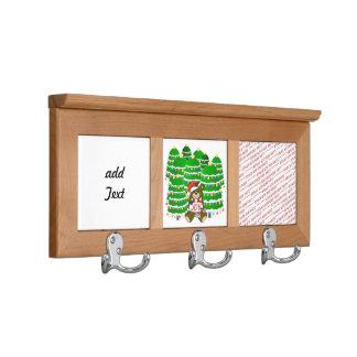 Oso del navidad con la muestra y ChristmasTrees de
