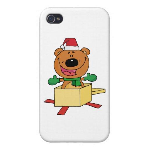 Oso del navidad haciendo estallar fuera de una caj iPhone 4 carcasas