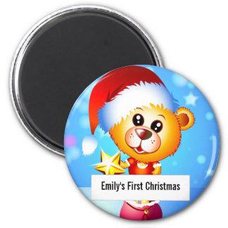 Oso del navidad imán redondo 5 cm