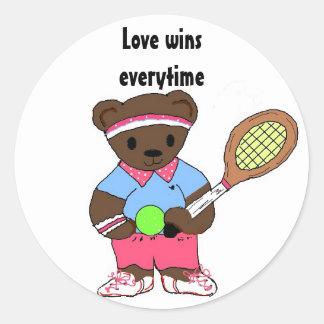 Oso del tenis - triunfos del amor cada vez pegatinas