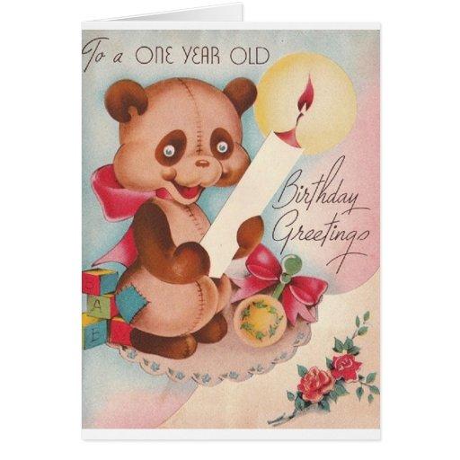 Oso del vintage una tarjeta de cumpleaños año