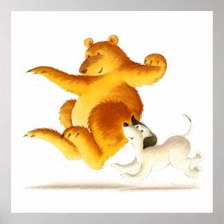 Oso divertido de los niños y perro de perrito póster