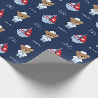 Oso dulce del marinero papel de regalo