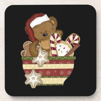 Oso dulce del navidad posavasos de bebida